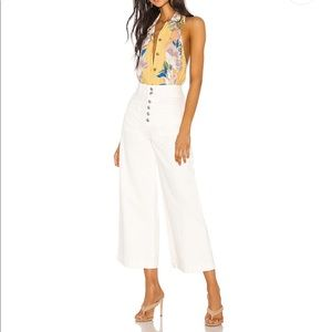 We The Free Colette High Rise White wide leg pants